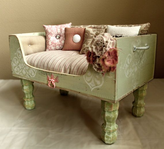 Shabby Chic Pet Bed, Soft Green, Soft Pink, Soft White Designercraftgirl.com
