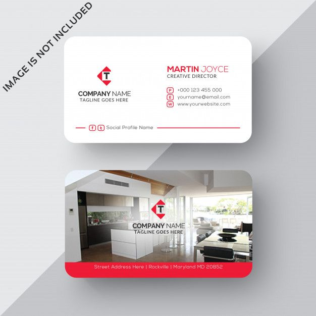 Interior Design Corporate Business Card In White And Red Premium