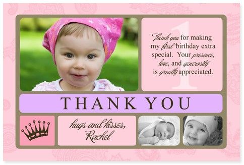 1st Birthday Princess Thank You Card Personalized 1st Birthday