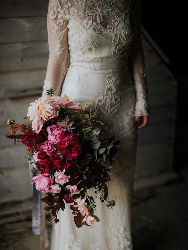 moody fall wedding bouquet #fall wedding gown Moody and Romantic Wedding Inspiration at Willow Pond Farm | Sabattus, Maine  — Jamie Mercurio Photography