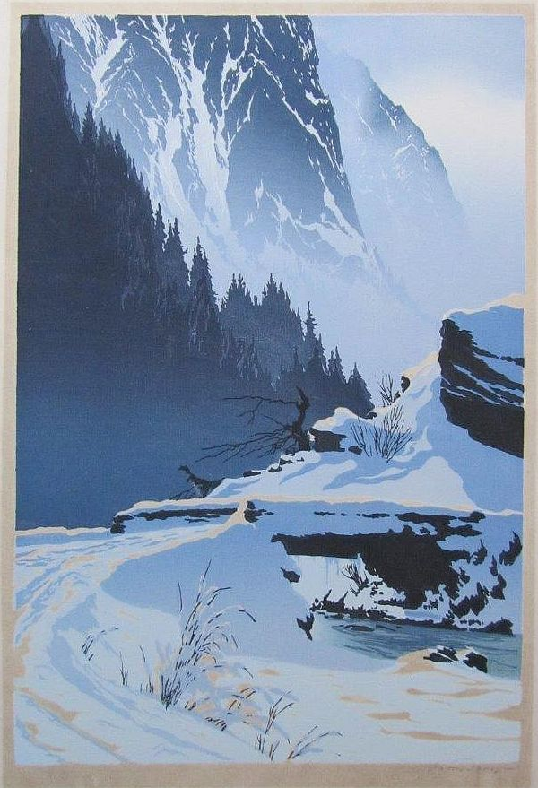 """✨ Oscar Droege (1898-1982), German - """"Bridge Over Mountain Stream In Winter"""" signed lower right in pencil,  37cm x 25cm, Colour Woodcut in colour"""