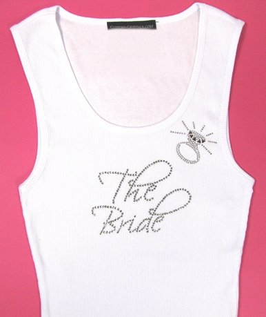 The Bride Rhinestone Tank Top or Tee Shirt with Diamond Ring - Wedding T-Shirts For The Entire Bridal Party