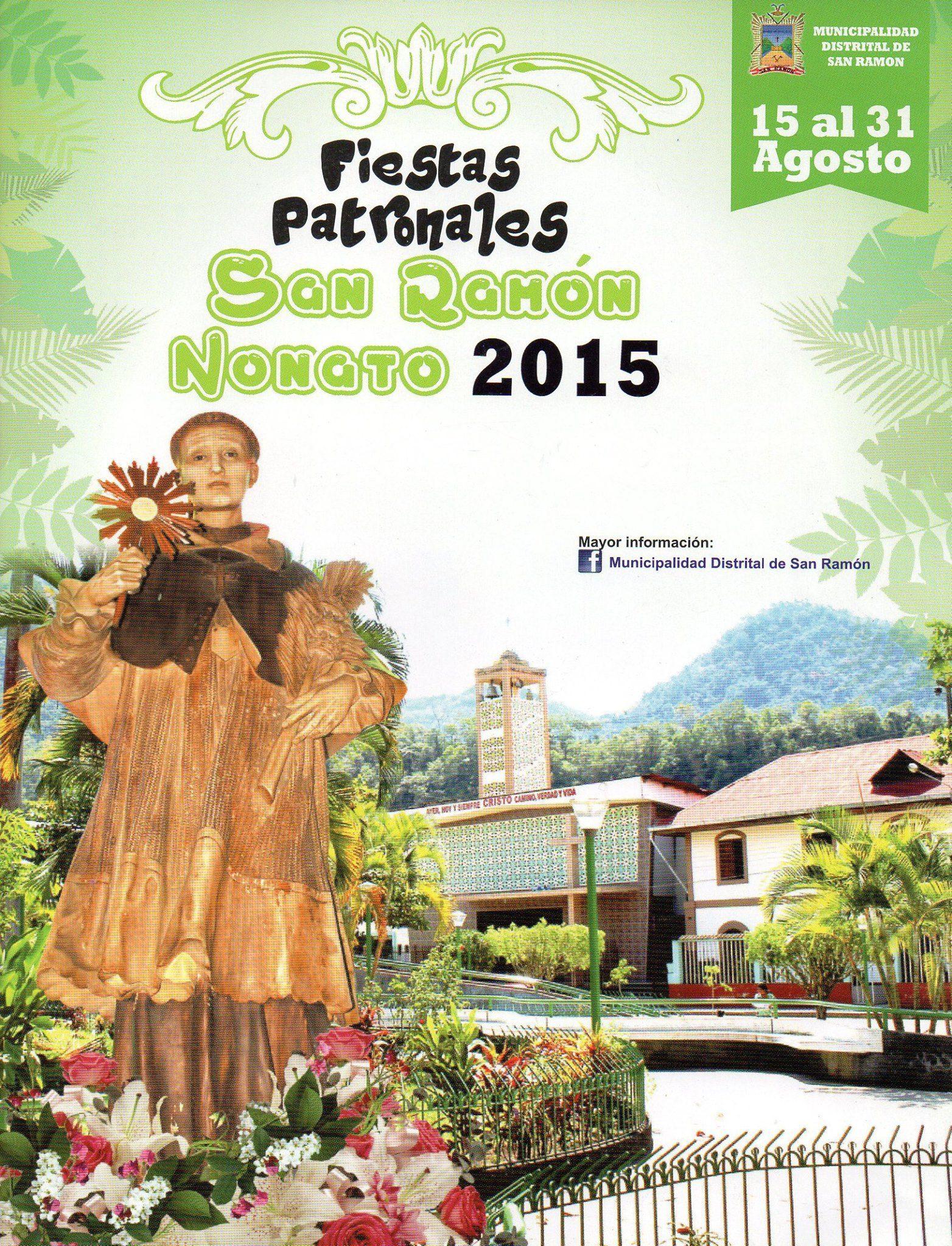 Fiestas patronales en San Ramón se celebra con procesiones, festivales y música