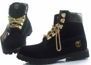 0b1051e15c BLACK & GOLD CUSTOM TIMBERLANDS WITH GOLD CHAIN £100.00 | My Style ...