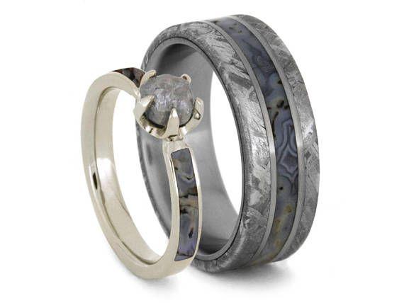 Dinosaur Bone Wedding Ring Set Rough Diamond Engagement Ring With