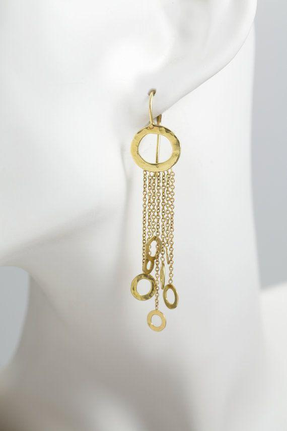 Pendientes oro delicados móvil pendientes 18 k macizo oro