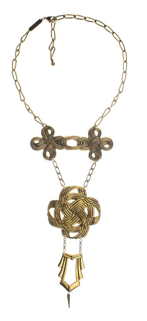 Get a little knotty with the brass Jan Michaels Deco Mikado Braid Necklace!