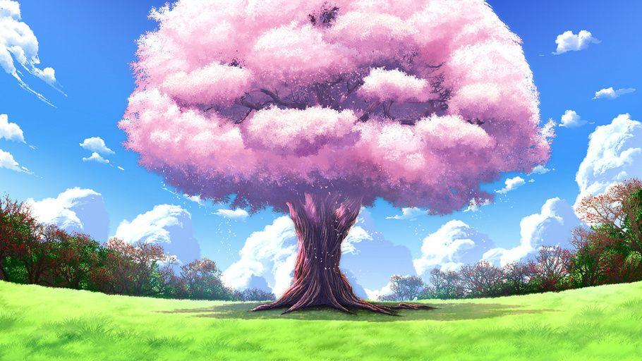 Anime Landscapes Tree Nature Art Upscale Anime Background Tree Landscape Wallpaper Landscape Wallpaper