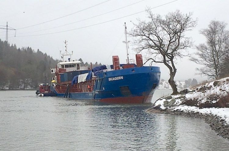 Cargo Ship Aground in Sweden