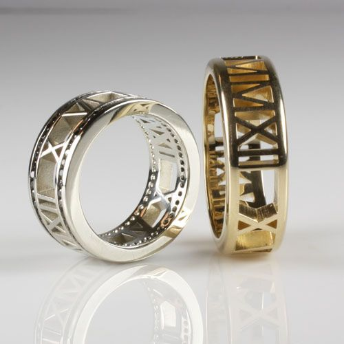 Pierced Roman Numeral Bands In Yellow And White Gold