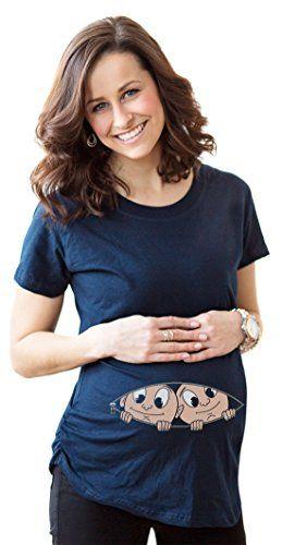 0c41bbc91 Women's Caucasian Twins Peeking T Shirt Funny Twin Babies Maternity Tee M Crazy  Dog Tshirts http