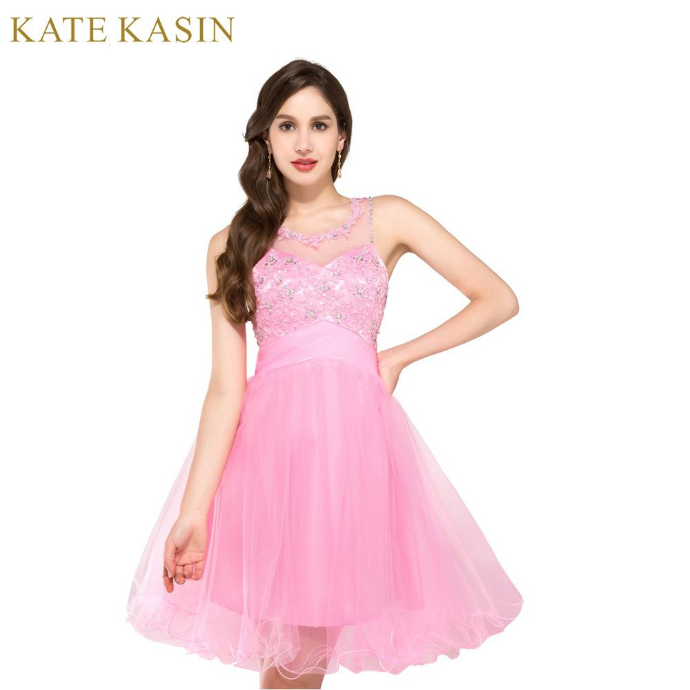 Blue Pink Green Short Prom Dresses 2017 O Neck Teens Ball Gown Knee ...