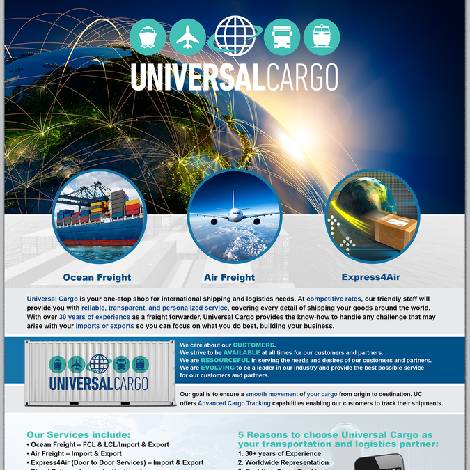 Fun Modern Flyer for Cool Shipping Company Universal Cargo