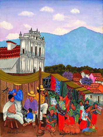 """Market Nebaj, Quiche"" by Margarito Chex Icu Kaqchikel Maya artist from Guatemala"