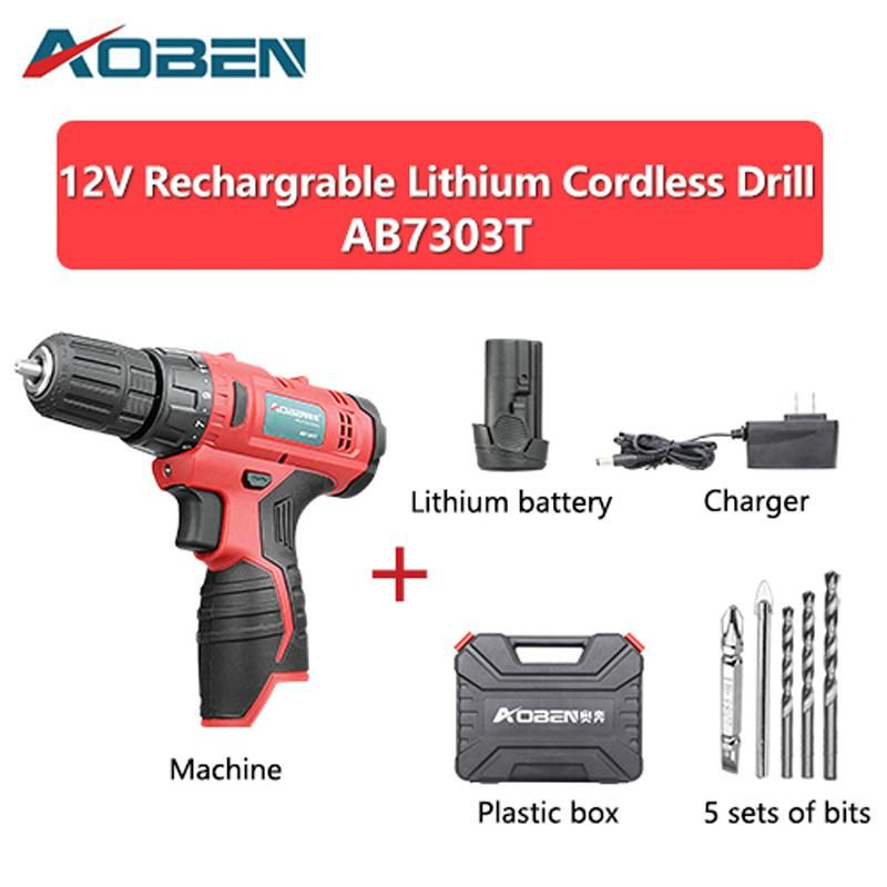 Aoben 12v Rechargerable Lithium Cordless Drill 2 Batteries Screwdriver Power Tools Mini Household Electric Drill With Drill Bits Cordless Drill Drill Electric Drill