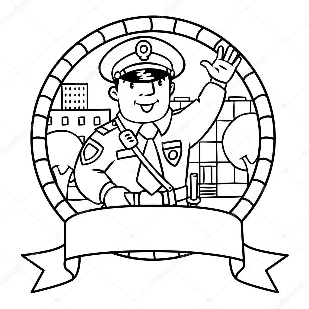 Komik Polis Boyama Kitabi Veya Amblem Stok Vektor Boyama