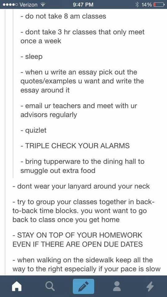 advice to college freshman essay