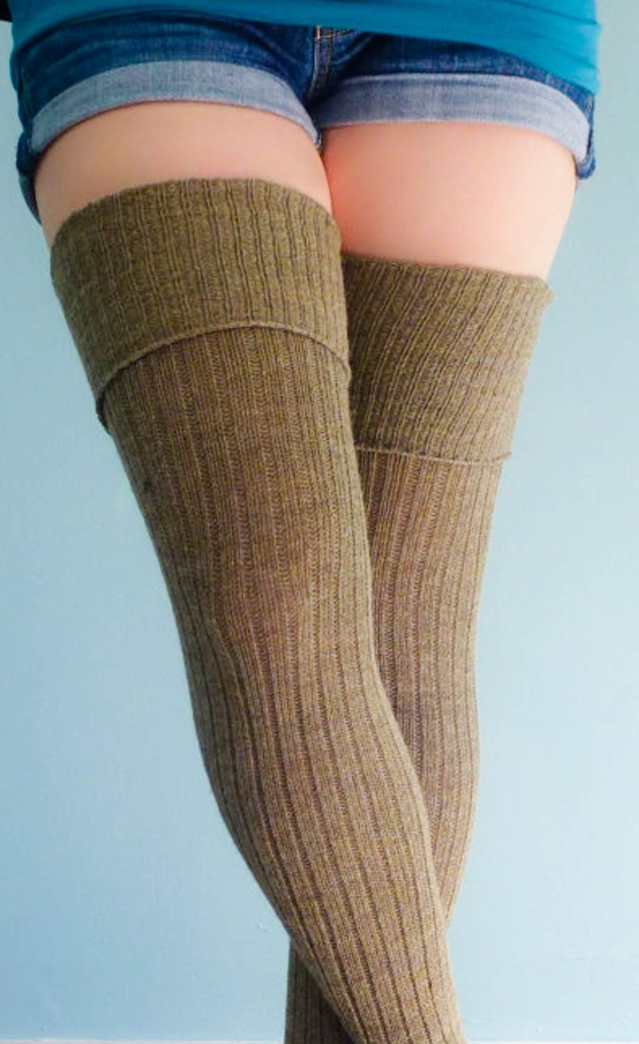 70af2bf5f Ribbed heathered BROWN Extra long Thigh Highs - Women s Tall Socks - Mens  Tall Socks - Better than LEGWARMERS - Boot Socks - Sweater socks