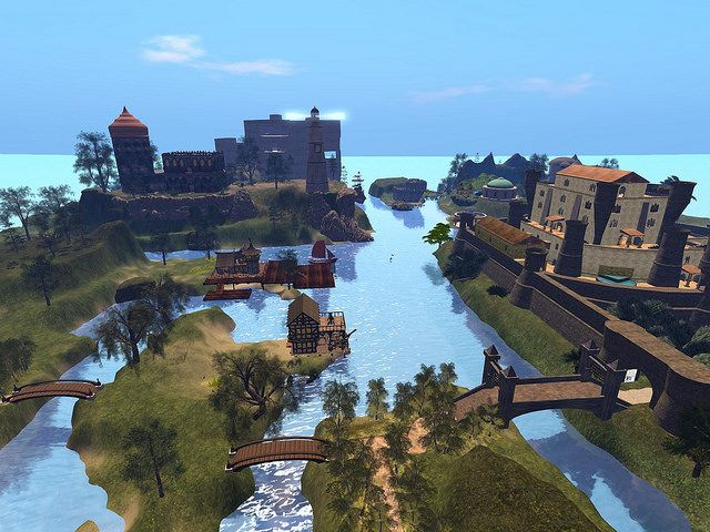 Photo shows Calchester medieval village in the upper right, a castle Prax Maryjasz built in the upper left with a castle I am building beyond it. Kitely grid