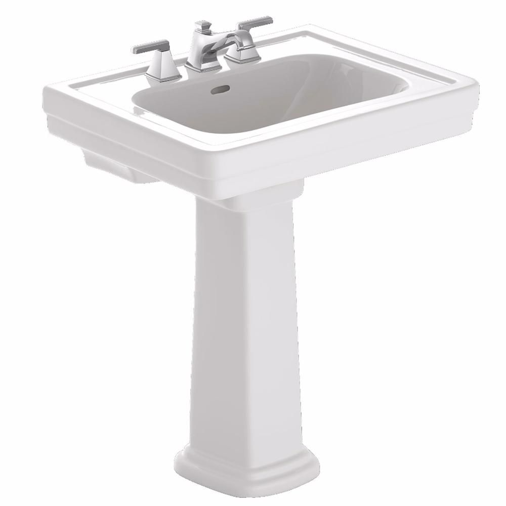 Toto Promenade 24 In Pedestal Combo Bathroom Sink With Single Faucet Hole In Cotton White Lpt532n 01 Pedestal Sink Sink Pedestal Sinks