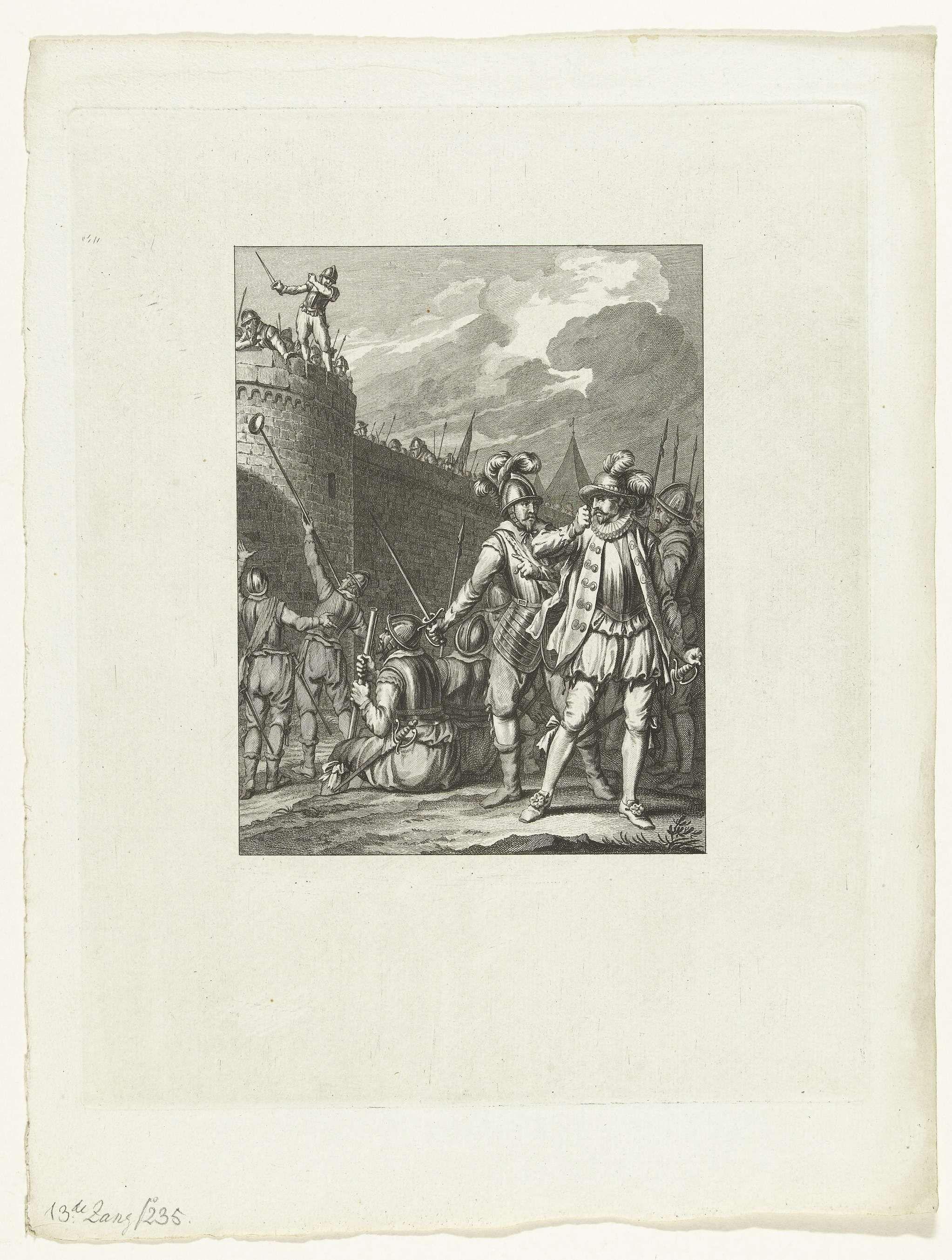 Theodoor Koning | Leidenaren weigeren het door de Spanjaarden aangeboden brood, 1574, Theodoor Koning, Jacobus Buys, Jacobus Buys, 1782 | De belegerde Leidenaren weigeren het door de Spanjaarden aangeboden brood, 1574. Dertiende zang.
