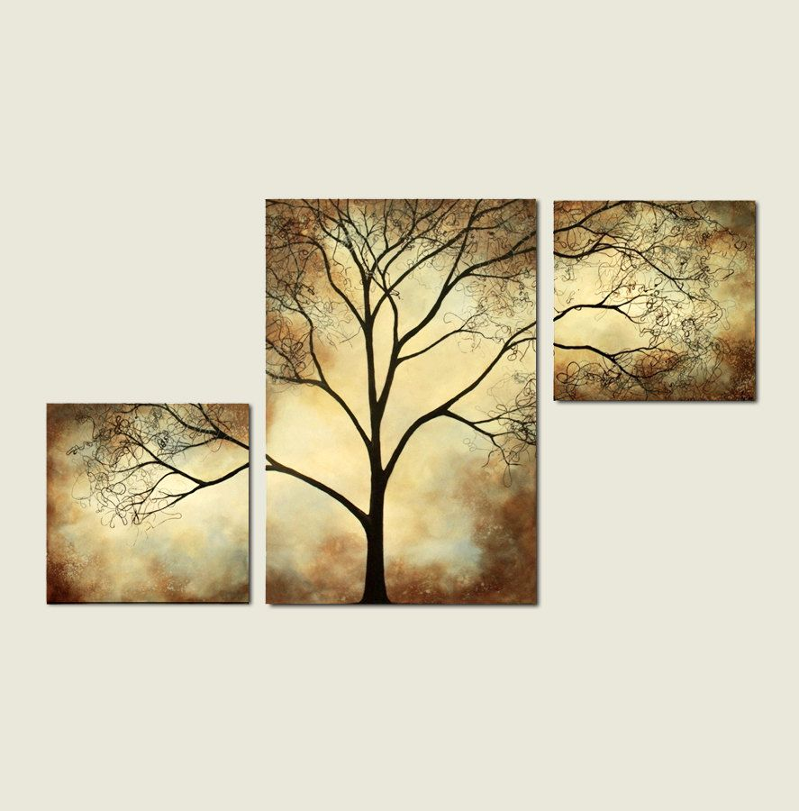 Tree Painting Sepia Cream 42 x 24 Abstract Large Custom Wall Art ...