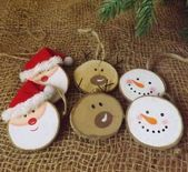 Set 6 Natural Wooden Log Slice Christmas Tree Decorations Santa Snowman Reindeer for sale onl...