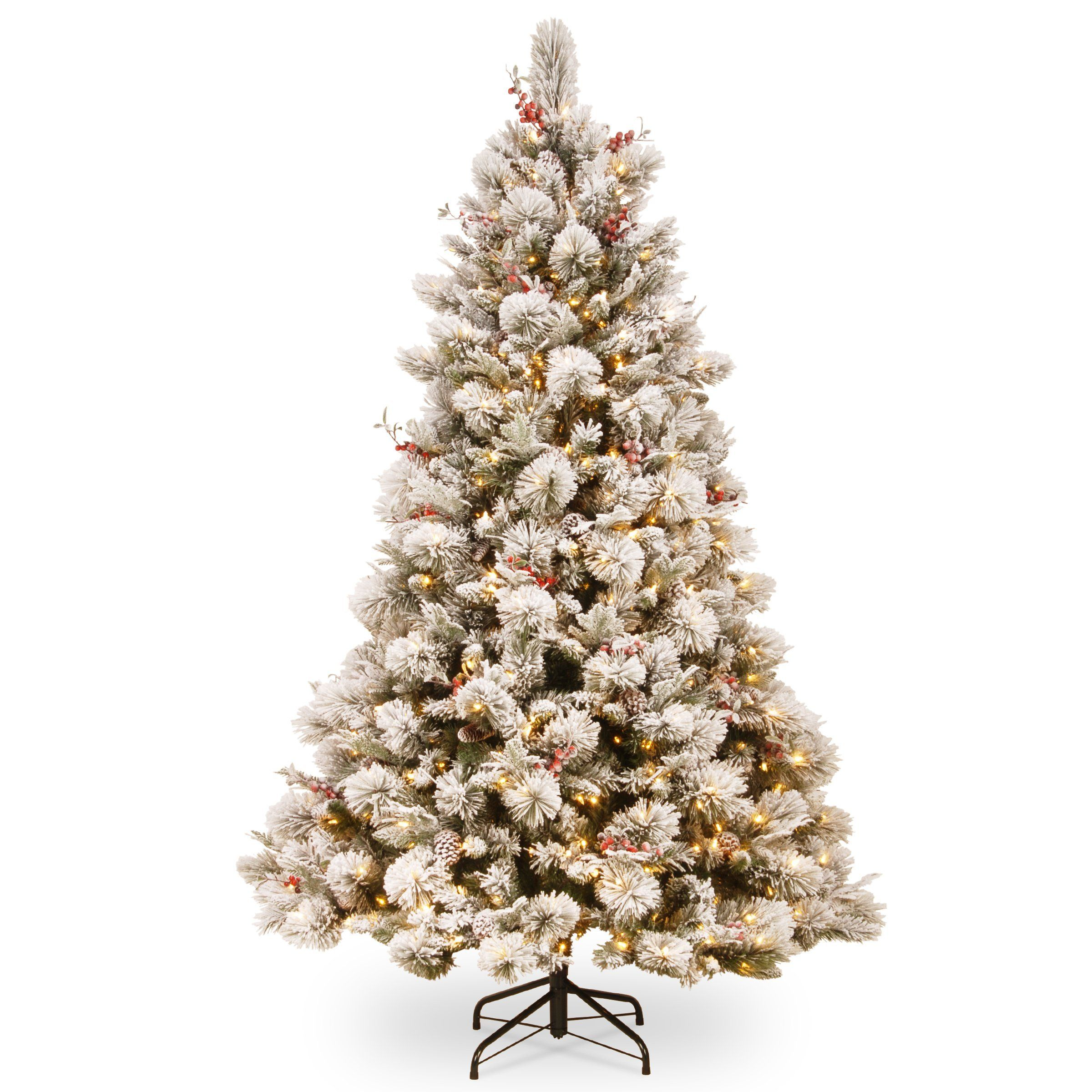 National Tree SBE1-309-75 7 1/2\' Snowy Bedford Pine Tree with Red ...