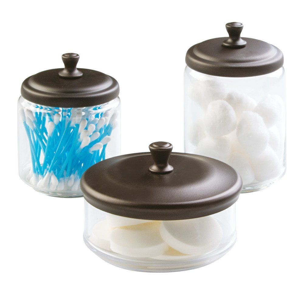 Amazon.com: InterDesign York Bathroom Vanity Glass Apothecary Jars For  Miscellaneous Items, Clear/Bronze