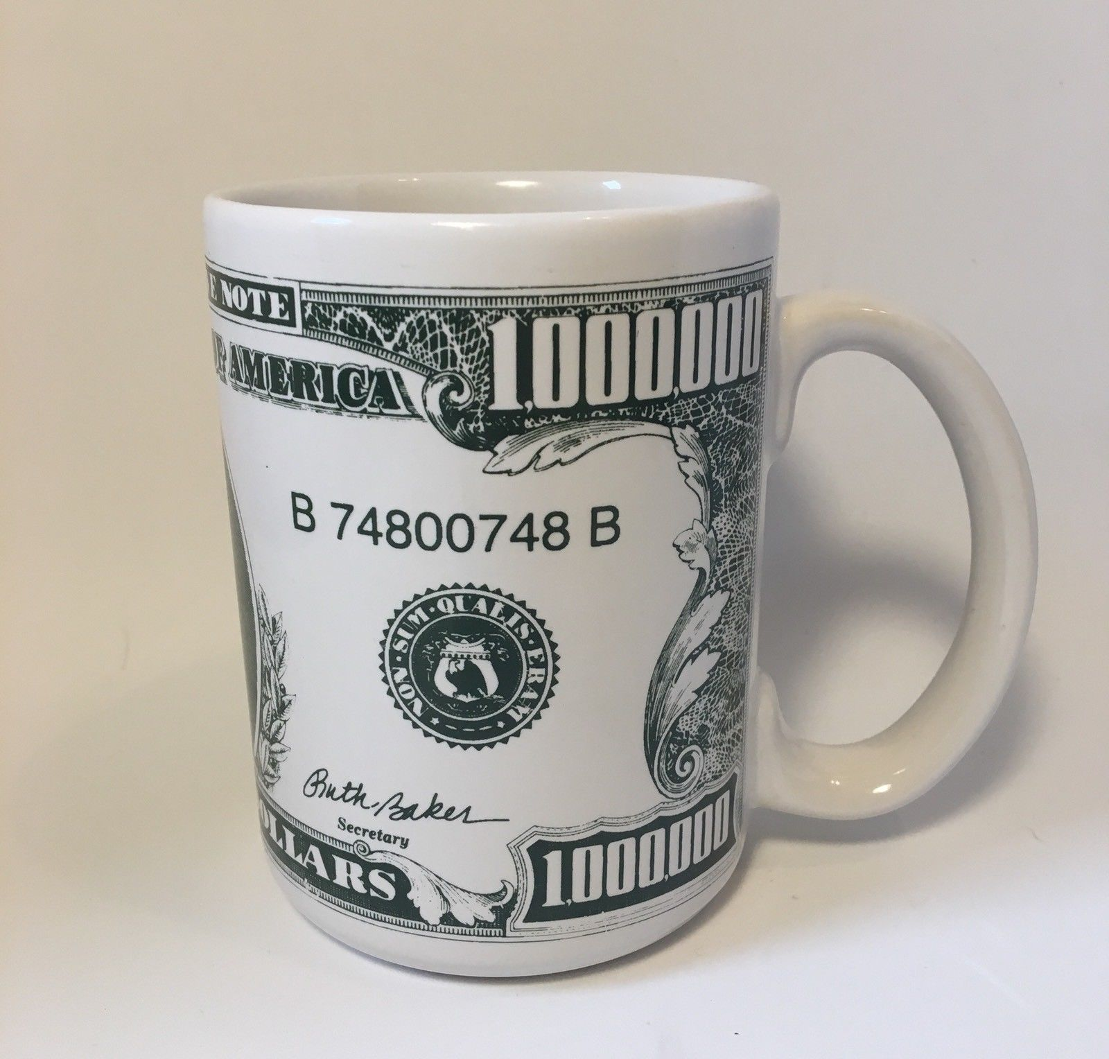 One Million Dollar Coffee Mug Cup Roosevelt White Green Bill Money Use Or Decor Ebay