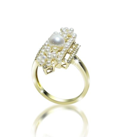 Ring in 14k gold with a 5.5–6 mm akoya, 38 freshwater seed pearls, and 0.15 ct. t.w. diamonds, $1,725