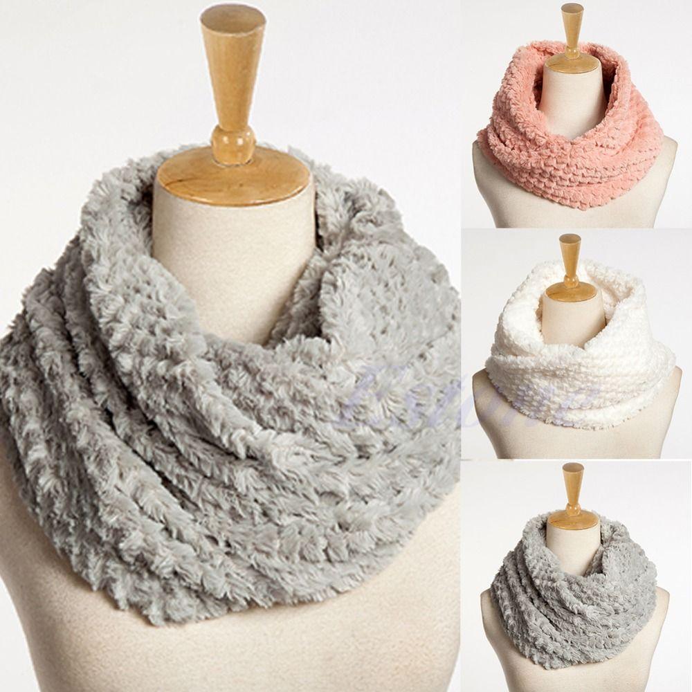 좋은 여성 가짜 모피 무한대 원 케이블 두건 목 겨울 따뜻한 긴 스카프 숄