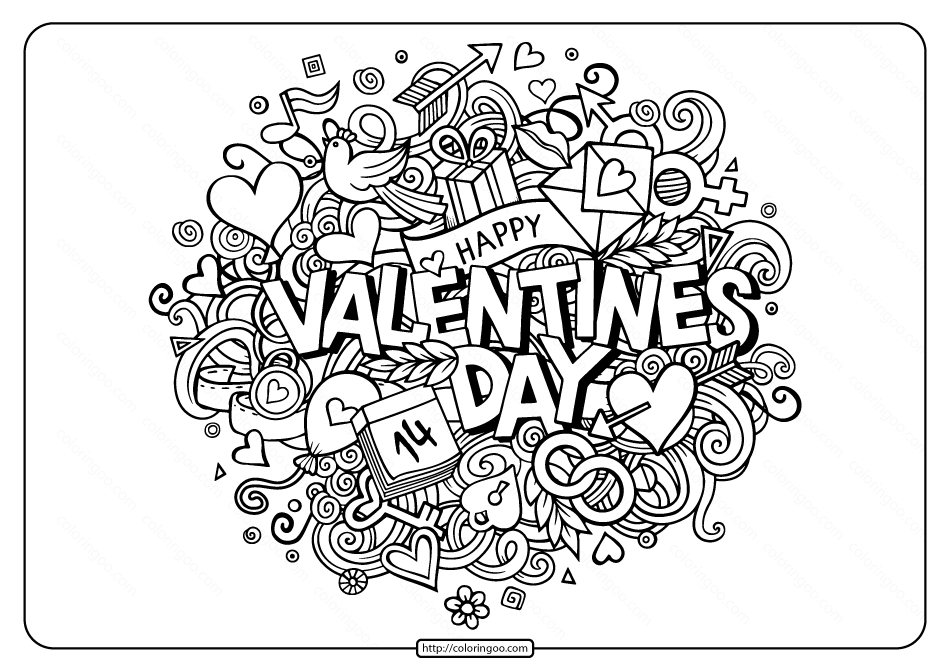 Free Printable Happy Valentines Day Coloring Page in 2020