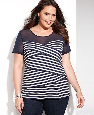 INC International Concepts Plus Size Short-Sleeve Striped Illusion Top