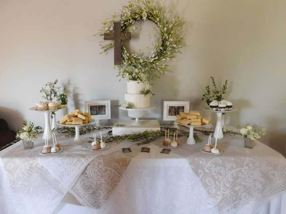 White Lace First Communion Party Ideas | First communion ...