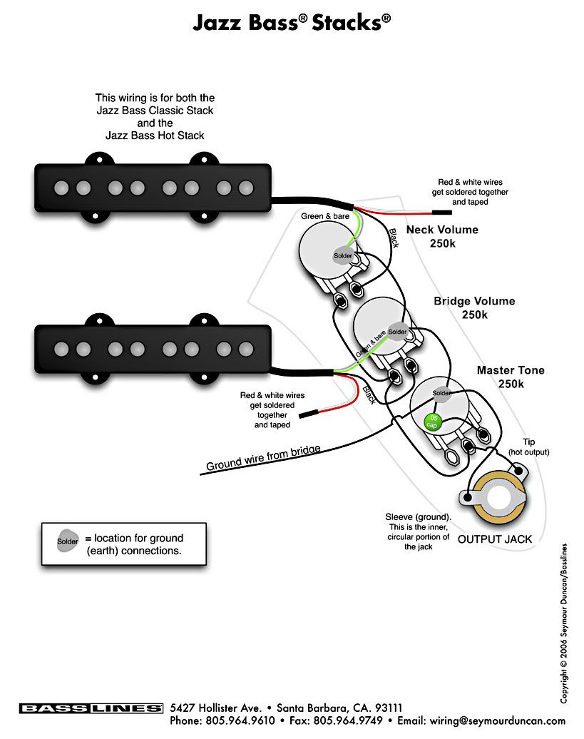 Bass Pickup Wiring  Jazz Bass Stacks | By Basslines, USA
