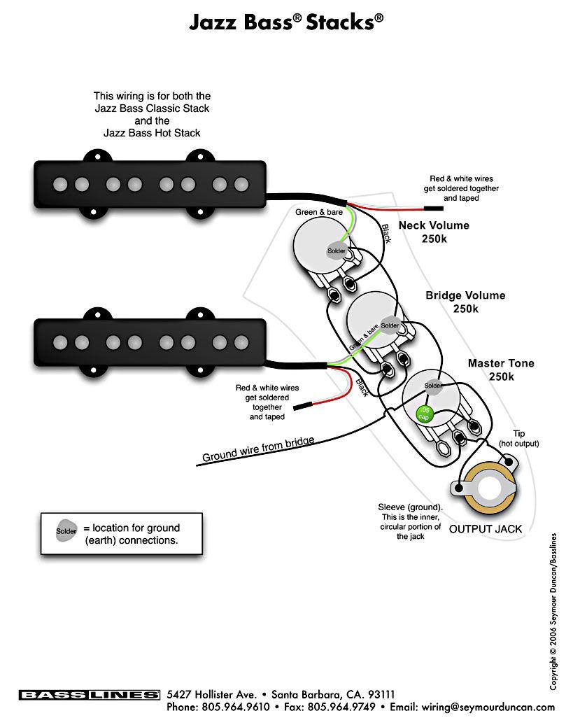 Bass Pickup Wiring  Jazz Bass Stacks | By Basslines, USA | Guitar wiring ในปี 2019 | Guitar