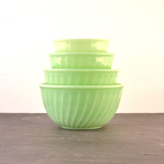 Fire King Jadite Jadeite Swirl Mixing Bowl Set of 4 from ...