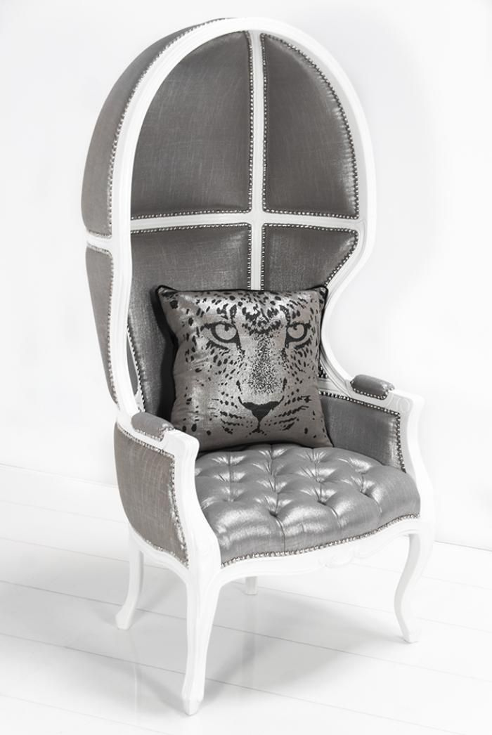 Charmant Balloon Chair In Metallic Silver Linen