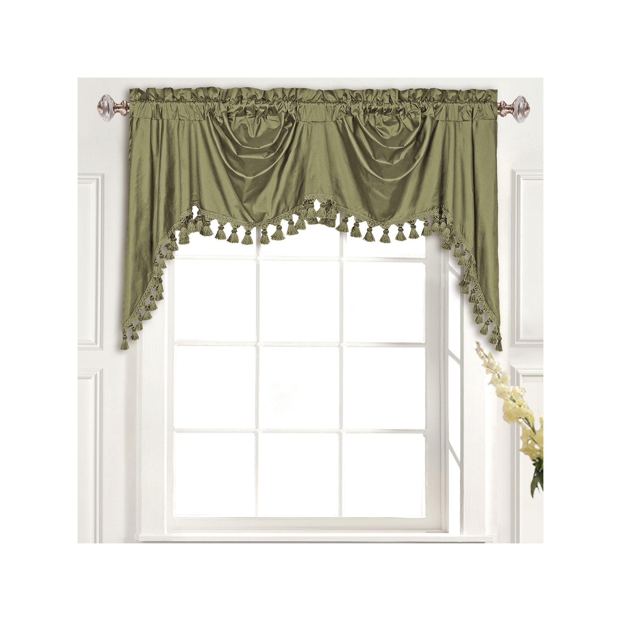 United Curtain Co Dupioni Silk Austrian Tassle Window Valance