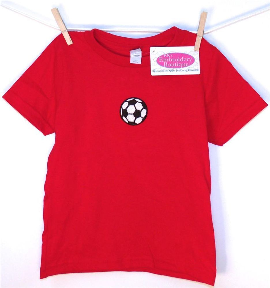 Soccer Sports Ball T-Shirt Red 4T by RK's Embroidery Boutique!