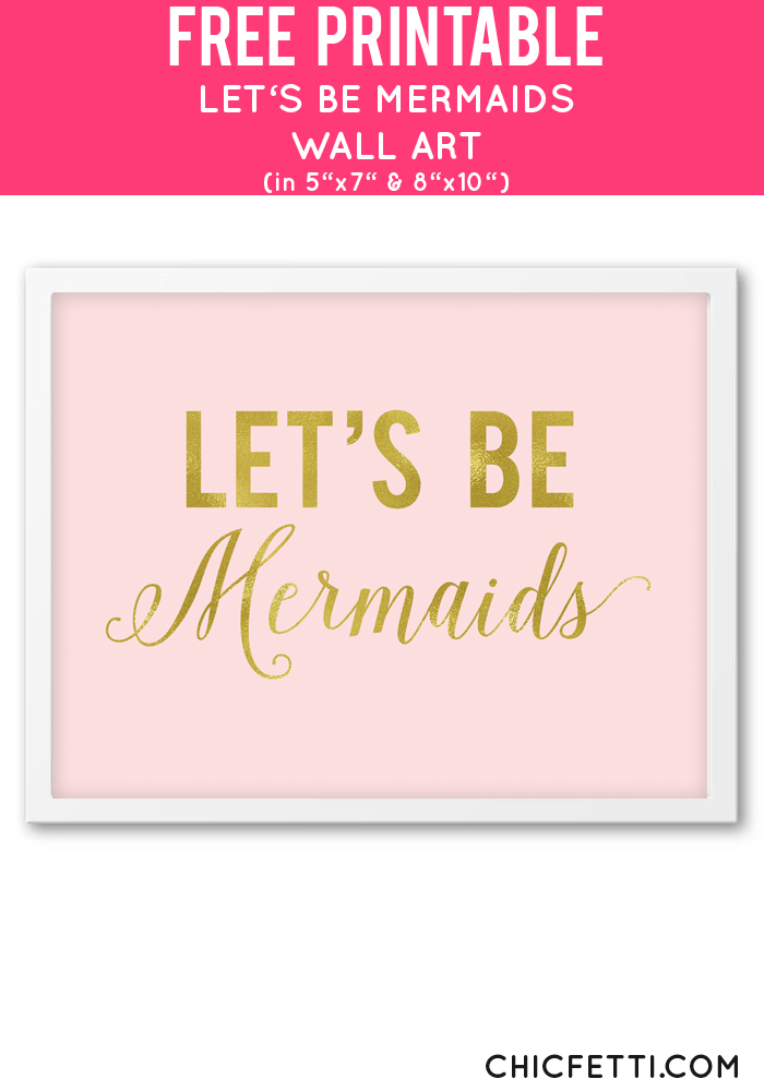 Pink Wall Art blush and gold let's be mermaids wall art | pink wall art, pink