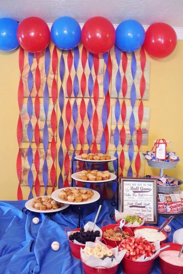 Blue And Red Streamer Decor For A Party