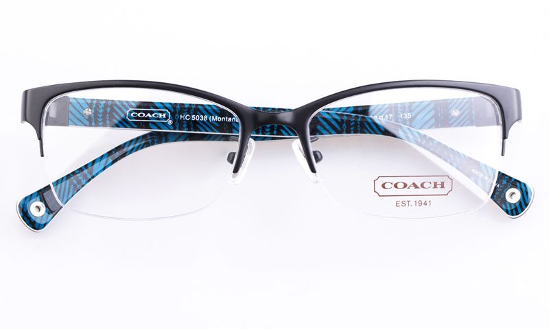 46f426270fa4 Coach HC5038 Acetate Womens Cat eye Semi-rimless Optical Glasses for Fashion