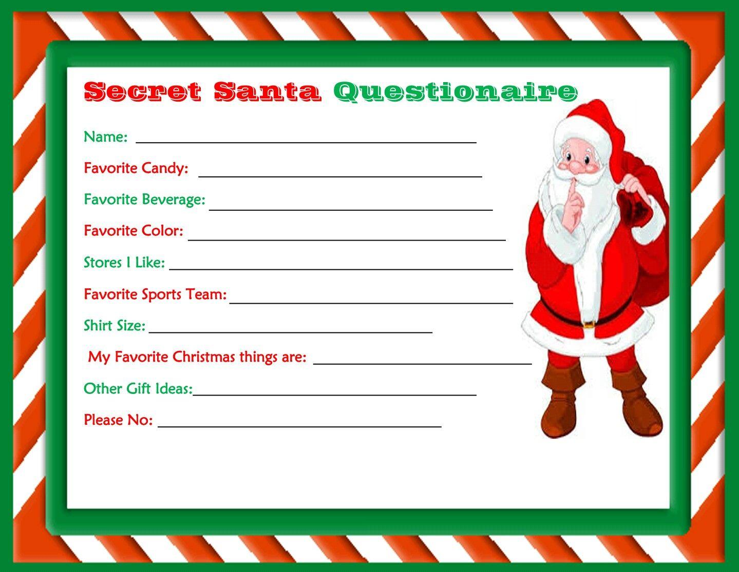Printable Secret Santa Questionaire Made By Dollie