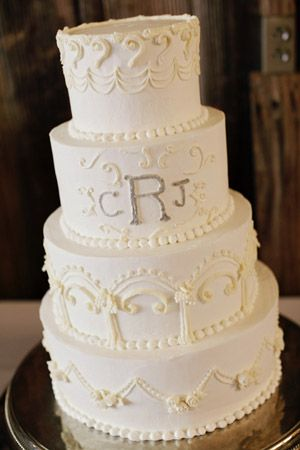 Four Tier Clic White Piped Monogram Wedding Cake From Alabama On Southern Weddings