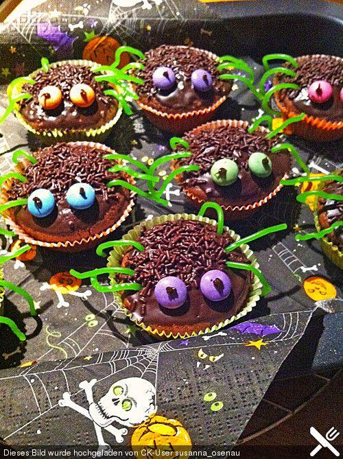 Spinnenmuffins für Halloween von KattyB87 | Chefkoch