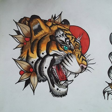 Pin By Robin On Tattoos Traditional Tiger Tattoo Tiger Tattoo Japanese Tiger Tattoo