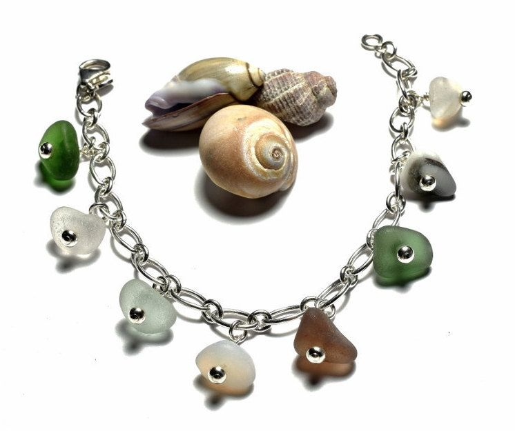"Sea glass bracelet with sterling silver 925 heavy chain 7"" and genuine sea glass  charms by SeaShards1 on Etsy"