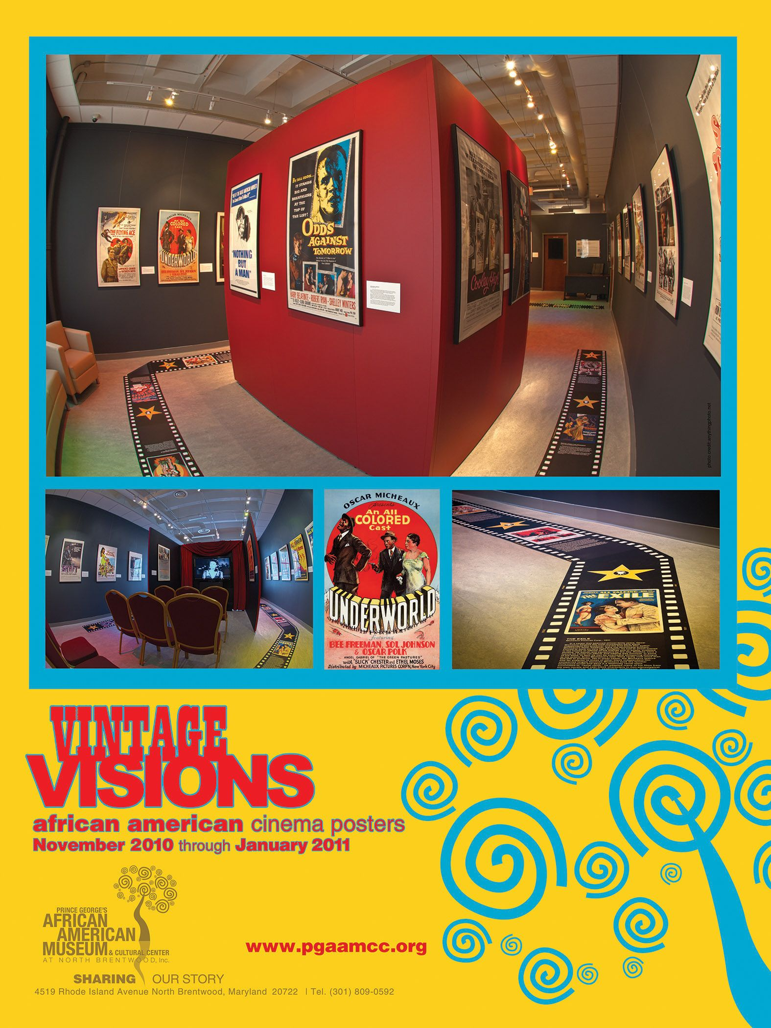 "Poster for ""Vintage Visions: A Collection of African American Cinema"" Exhibition at Prince George's African American Museum & Cultural Center (PGAAMCC). Poster Series Design: Paul Grant for Ascender Communications"